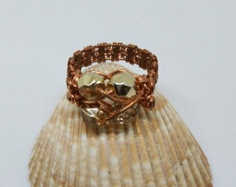 Rondell crystal ring handmade with copper wrapping