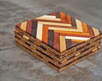 Handmade Wood Coasters (4 per set) in Herringbone Pattern