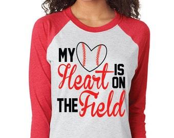 My Heart is on the Field Raglan Tee Shirt