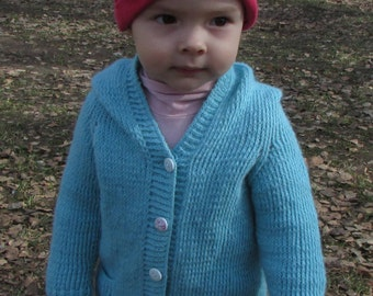 Turquoise Cardigan with hood made of wool, Gentle cardigan for toddler