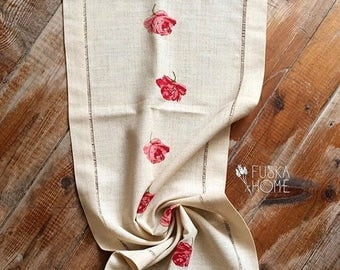 Handmade Linen Table Runner, Hand embroidered (cross stitched)