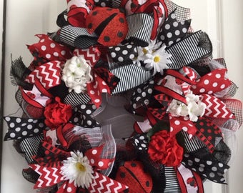 Ruffled Lady Bug Wreath  Red, white and black spring wreath  Ladybugs and polkadots