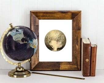 Pluto Print, Pluto Wall Art, Pluto Home Decor, Watercolor Pluto, Space Print, Planet Print, Planet Wall Decor, Planet Wall Art, Solar System