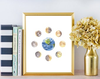 Moon Phases Print, Moon Print, Earth and Moon Print, Moon Phases Wall Decor, Moon Wall Art, Moon Home Decor, Space Print, Space Wall Art