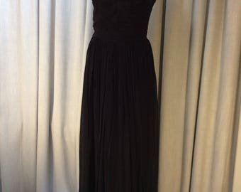 Very Glamorous 1950's Crystal Beaded Jet Black Georgette Evening Gown