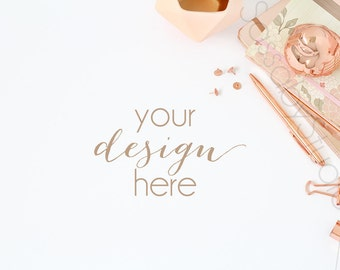 Rose Gold Desk Styled Stock Photography / Product Mockup / Styled Photo / Blog / Website / Sassaby Studios / Peach Rose Pink File #0005