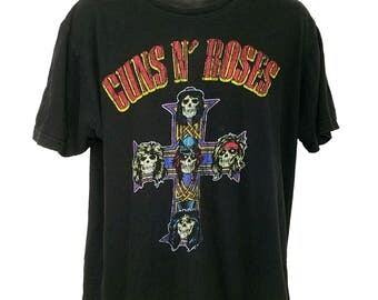 Guns N Roses T Shirt Vintage 80s Appetite For Destruction Worn Faded Mens Size Large