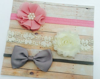 Baby Headband SET, Baby Hair Accessories, Baby Hair Bows, Baby Flower Girl, Baby Girl Hair Bows, Baby Flower Headband, Baby Headbands Flower
