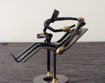 Signed Metal Dentist Nail Sculpture / F. Ransom / Dentistry / Medical Art / Metal Art / Nails / Unique
