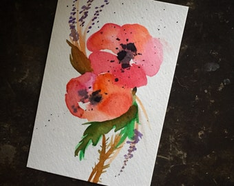 ORIGINAL Poppy Watercolor Postcard