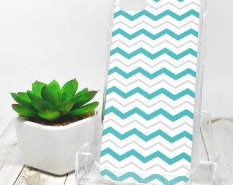 Gray Turquoise Chevron iPhone 7 Case - Pattern with Alternating Turquoise Gray and White Zigzags - iPhone 7 Plus Case