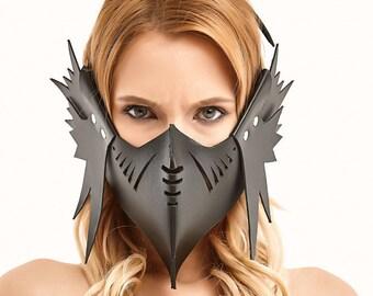 Leather Dragon Mask, Erotic Accessory , Black Mask, Animal Mask,  Erotic Mask, BDSM Item