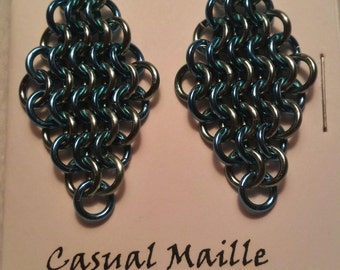 Sky Blue/Seafoam Chain Maille (European 4-1) Earrings