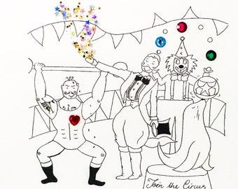 Circus Children's Card - Boys & Girls - Handmade - Blank Inside