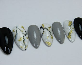 Black Gold Foil Marble Press On Nails | Fake Nails | Handpainted Nail Art | Any Shape and Size | Made to Order | !Ever Be