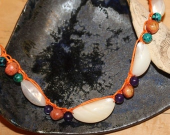 Necklace sea breeze of intuition - shells, coral beads, Amethyst, Chrysocolla, Sunstone