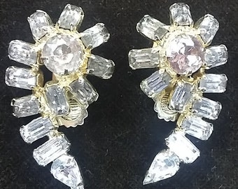 Vintage Rhinestone Clip-On Style Earrings, 1930's Chunky With Gold Background LOVELY!