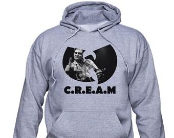 Wu Tang CREAM; Johnny Cash hoodie; Hoodie or Sweatshirt; Wu Tang Clan sweater; Cash rules pullover; C.R.E.A.M. hoodie; Wu-tang; (WT01)
