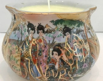 Asian Satsuma Style Soy Candle in Round Bowl with Curved Top