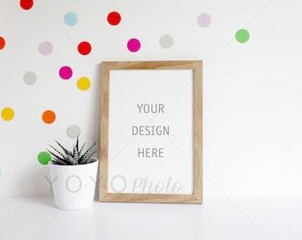 Oak Frame Mock Up, Colourful Stock Photography Frame, A4 Frame Mockup, Styled Stock Photography, Smart Object Frame Mockup, Digital Frame