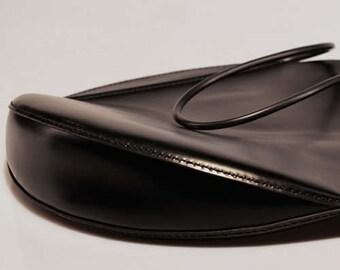 Black Round Bag, Circle Bag, Designer Handbags, Black Leather Handbag, Black Shoulder Bag, Womens Handbags, Handmade Handbags, Cow Leather