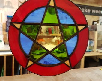 Stained glass Pentagram in Tiffany stained glass, colorful pentagram suncatcher in colored glass to hang in window as home decor.