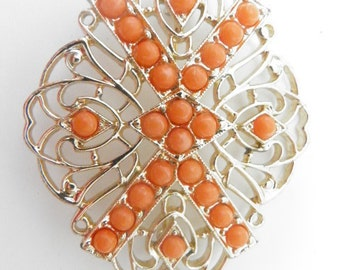 Sarah Coventry Tangerine Brooch