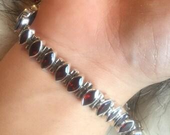 Silver Garnet Bracelet