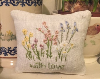 Hand Embroidered sachet sewn on French dowry linen.