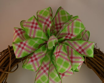 Green Pink and White Plaid Bow, Spring Bow, Summer Bow, Wreath Bow, Basket Bow, Gift Bow, Plaid Bow, Decorative Bow