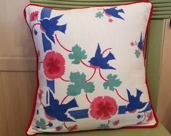 Vintage Blue Birds Pillow Cover