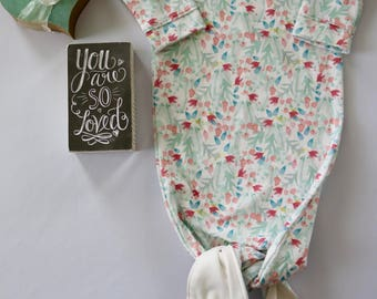 Watercolored Floral Knotted Newborn Gown