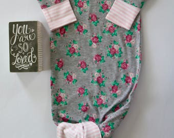 Gray and Pink Knotted Newborn Gown