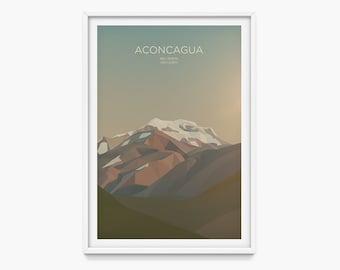 Aconcagua, Argentina (Mountain Art Print, Mountain Poster / Seven Summits, Mountains, Gift, Andes)