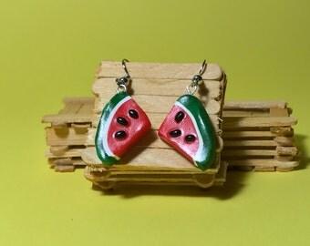 Watermelon slice drop earrings