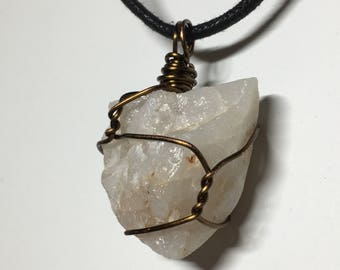 Crystal Quartz - Mountain Collection - Big-boned Crystal Quartz stone - Wire Wrapped w/ 18ga Bronze Wire