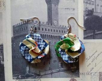 Patterned Origami Flower Earrings