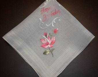 vintage Birthday Handkerchief, flower floral hankies hankie, white pink handkerchief, special occasion