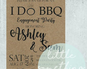 I DO BBQ Invitation Template // Engagement Party // Couples Shower //Rehearsal Dinner // BBQ // Digital Template // Printable
