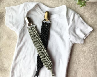 "Macrame Pacifier Clip ""Made with Love"" Collection"