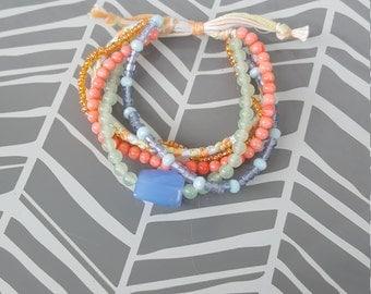 Adjustable Multistrand Bracelet - Coral, Blue and Green