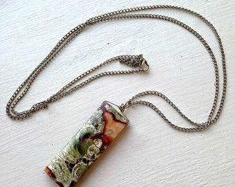 Green Pendant •  Green Pendant Necklace • Green Pendant Gemstone • Green Jasper Pendant • Long Green Pendant Necklace • Long Green Gemstone