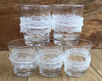 5 Handmade glass centre piece tea light holders - lace pearl vintage shabby chic rustic wedding
