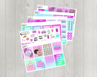 Throwback Weekly Planner Kit (GLOSSY Vertical Erin Condren Life Planner Stickers)