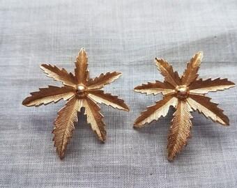 Sarah Coventry 'Autumn Haze' Leaf Clip-On Earrings- Gold Tone