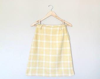 1960s Vintage Plaid Mini Skirt