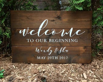Rustic Welcome To Our Beginning with Names and Wedding Date | White on Wood