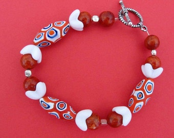 Murano Glass and Miriam Haskell Vintage Beads - Red, White and Blue Toggle Bracelet