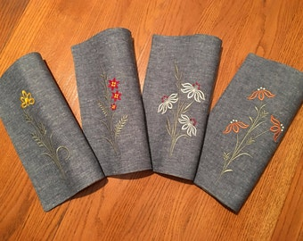 Set of 4 Flower Embroidered Chambray Placemats