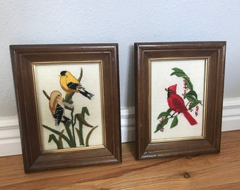 Bird Needlepoint Art | Pair of Bird Framed Needlework | Cardinal Art | Goldfinch Art Crewel Embroidery